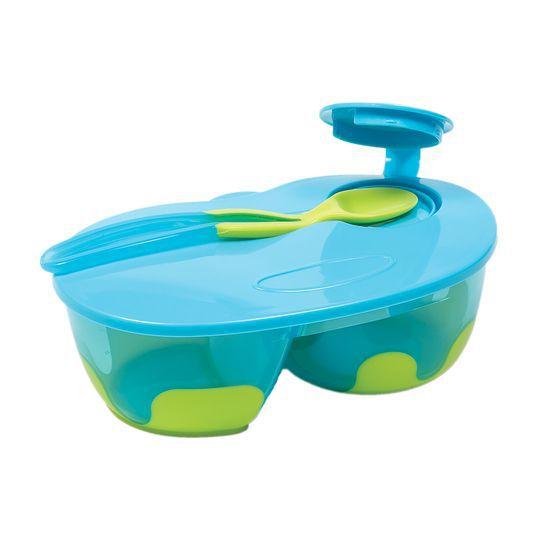 Kit Refeição Infantil Azul com Divisória, 320ml, +6m - Buba