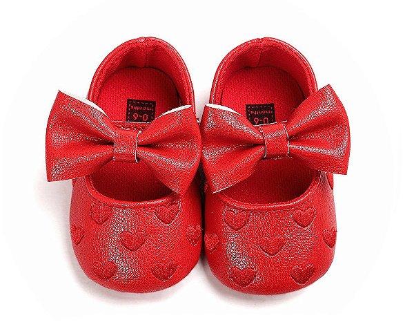 Sapatinho Baby Vermelho Couro com Laço 0-6meses (11,5cm)