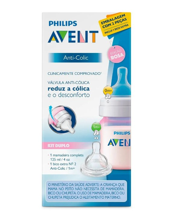 Mamadeira Clássica Anti-Colic Rosa 125ml +0m Philips Avent