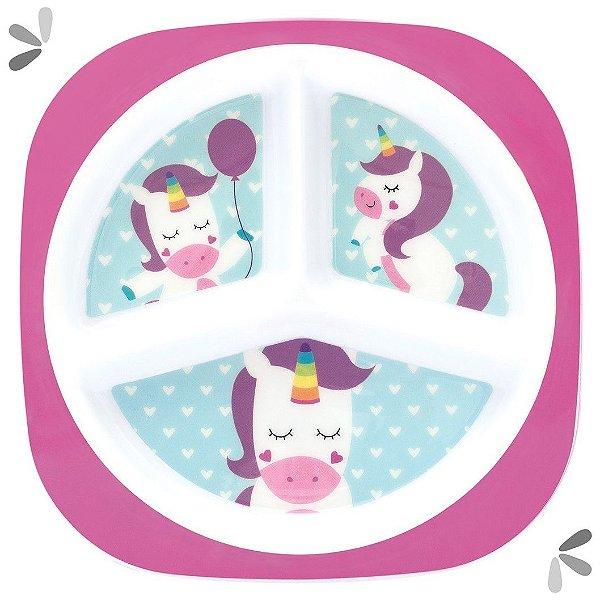 Prato Raso com Divisória Infantil Animal Fun Roxo +6m Buba