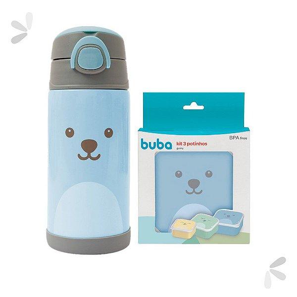 Kit Potinhos de Viagem e Garrafinha Térmica Gumy Azul Buba