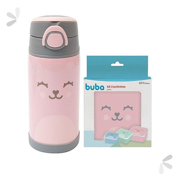 Kit Potinhos de Viagem e Garrafinha Térmica Gumy Rosa Buba