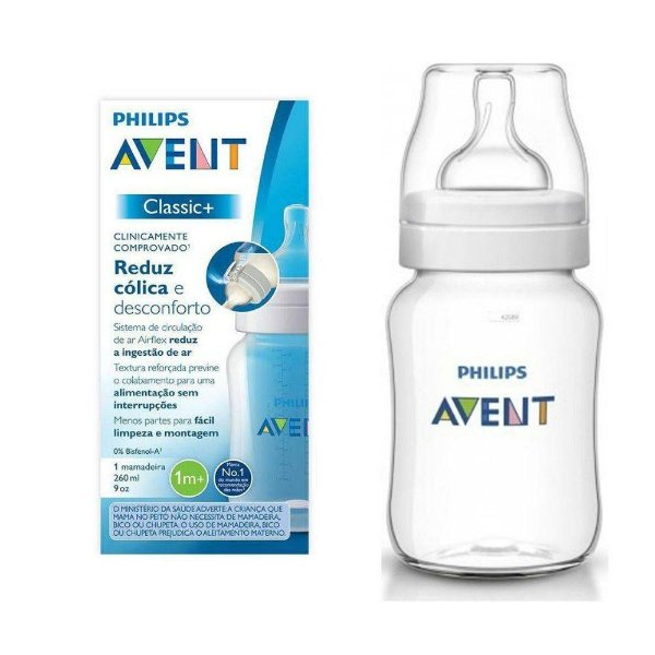 Mamadeira Clássica Anti-Colic Transp. 260Ml - Philips Avent