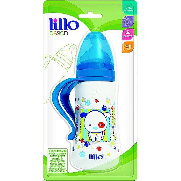 Mamadeira Design Fashion Orto 300Ml c/ Alça Azul - Lillo