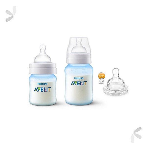 Kit Mamadeira Avent Anti-Colic 125 e 260ml Azul + Bico Extra