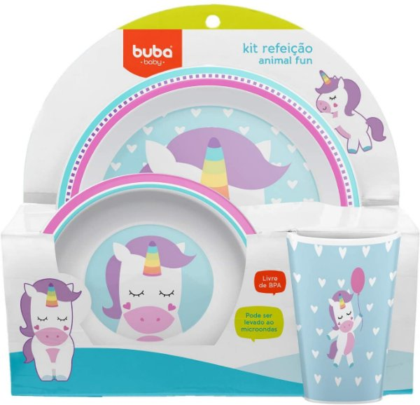 Kit Refeição Animal Fun - Unicórnio, Multicolorido -  Buba