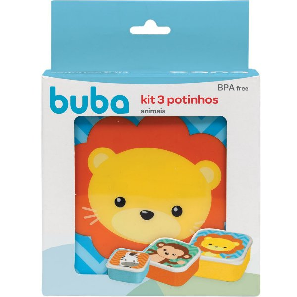 Kit 3 Potinhos de Papinha Animal Fun Gumy Buba