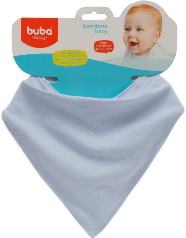 Bandana Algodão e Forro Impermeável Baby, Azul - Buba