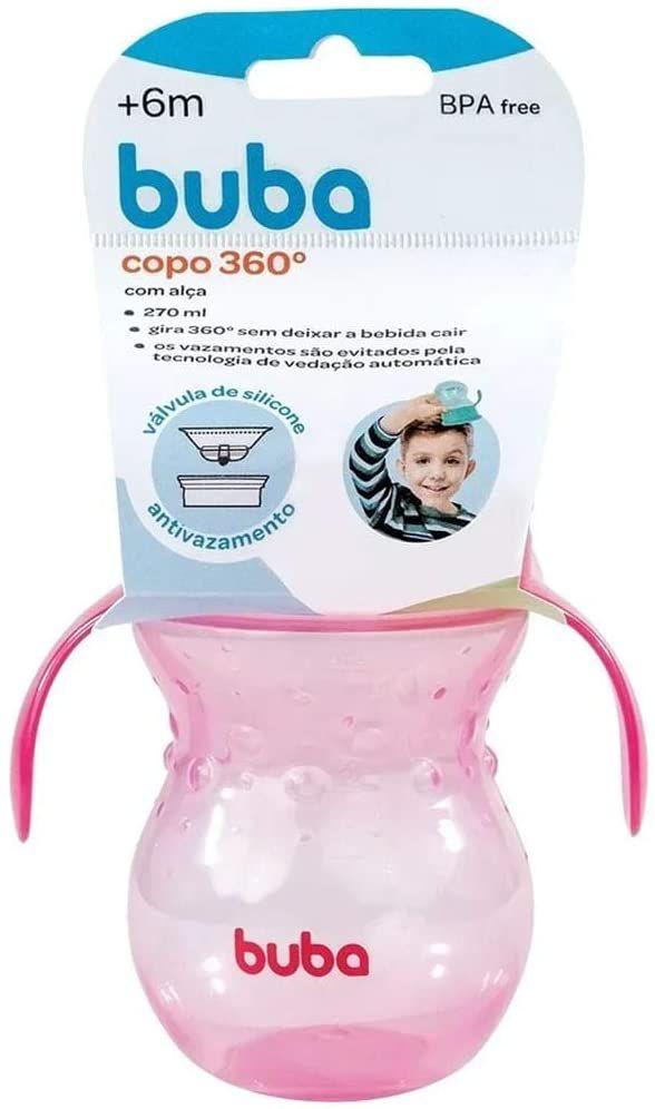 Copo 360 De Transição Antivazamento, Rosa - Buba