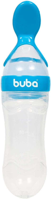 Colher Dosadora Silicone com Capa Protetora, Azul -  Buba