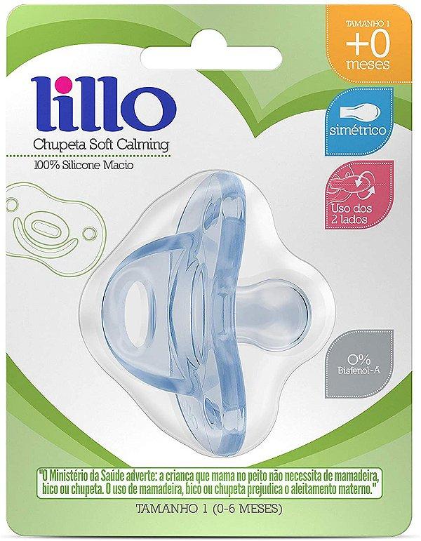 Chupeta Soft Calming Silicone Simétrico 0-6m, Azul - Lillo