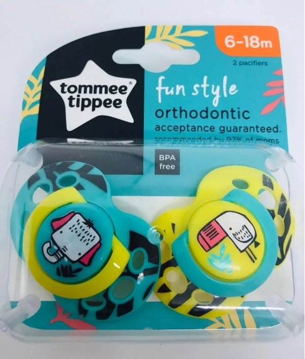 Chupeta Fun Style 6-18m, Verde e Amarela, 2un, Tommee Tippee