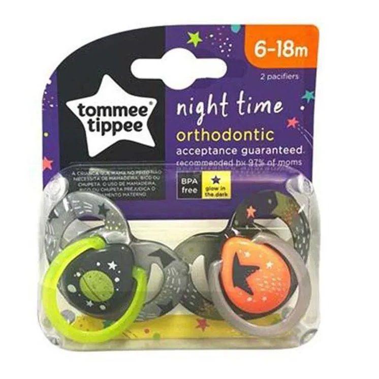 Chupeta Night Time 2un Cinza e Laranja, Tommee Tippee, 6-18m
