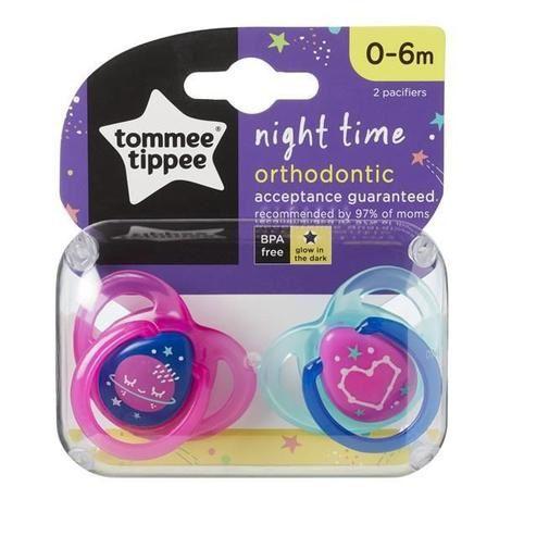 Chupeta Night Time, 2 Und, Rosa e Azul, Tommee Tippee, 0-6m