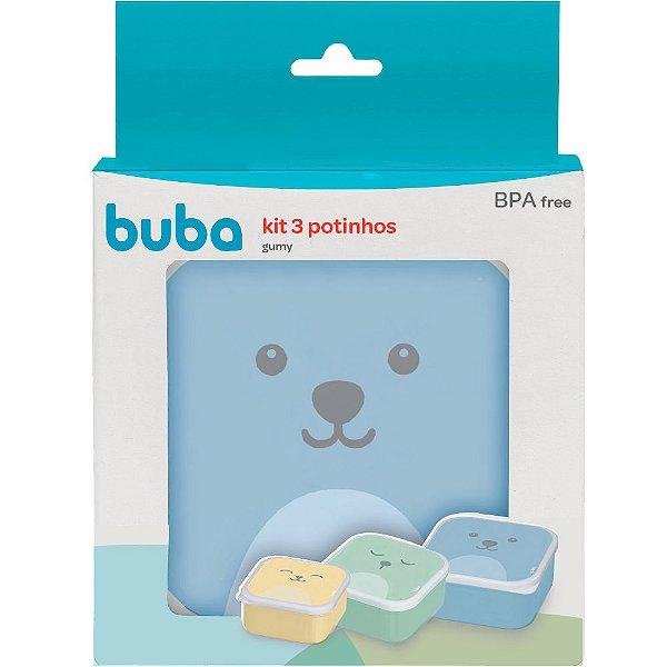 Kit 3 Potinhos de Papinha Decorado Azul Gumy Buba