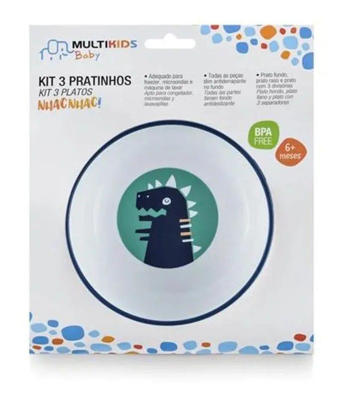 Kit 3 Pratinhos para Bebê Nhac Nhac Rex, 6+m - MultiKids