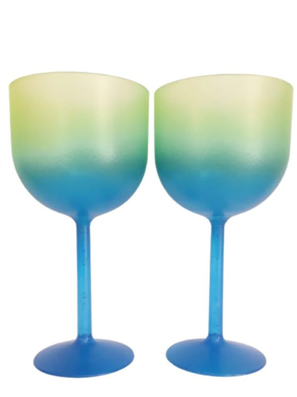 Taça de Gin Fosca Bicolor Verde Azul de 500 ml