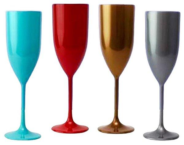 20 Taças De Champanhe De 170 ml Em Acrílico Várias Cores Personalizadas