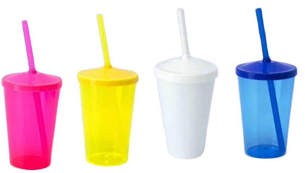20 Copos Caldereta De 500 ml Em Acrílico Com Tampa e Canudo Várias Cores Sem Estampa
