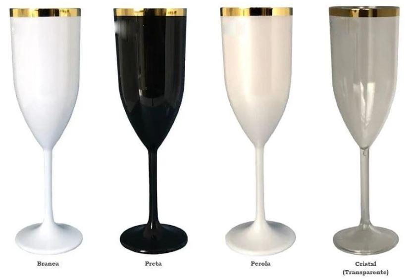 20 Taças De Champanhe De 170 ml Em Acrílico Com Borda Dourada Várias Cores Sem Estampa