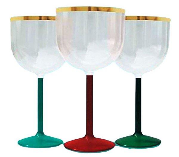25 Taças De Gin De 500 ml Com Base Colorida e Borda Dourada Sem Estampa