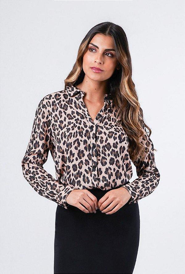 Camisa Animal Print em Crepe