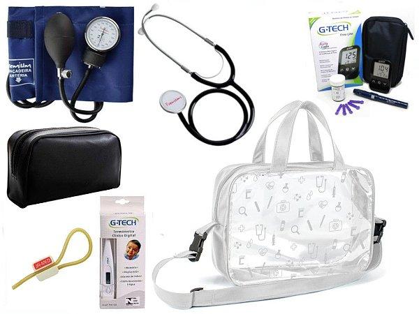 Kit Enfermagem Esfigmomanômetro E Estetoscópio Simples Premium + Medidor de Glicose + Bolsa Estágio JRMED