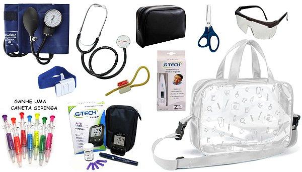 Kit Material de Enfermagem Aparelho de Pressão Esfigmomanômetro com Estetoscópio Simples Premium + Medidor de Glicose + Bolsa Estágio
