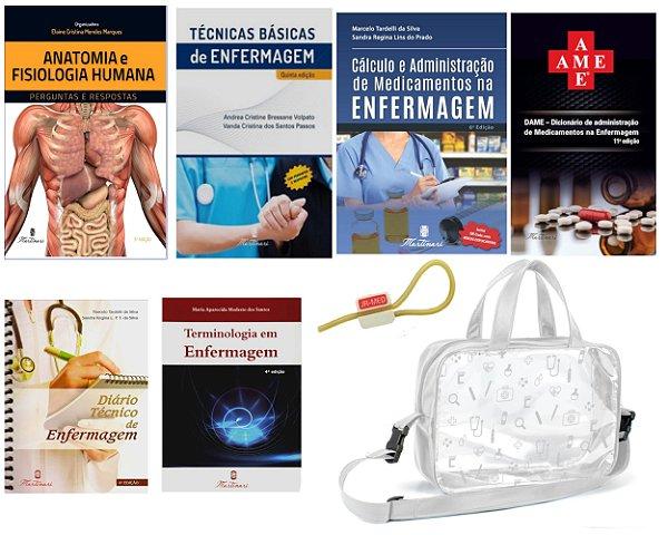 Kit 06 Livros de Enfermagem : AME/Bulário + Técnicas Básicas + Cálculo + Diário + Terminologia + Anatomia + Bolsa Estágio JRMED
