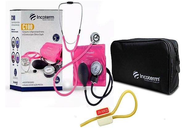 Kit Enfermagem: Aparelho de Pressão com Estetoscópio Clinico Duplo Incoterm Pink + Garrote JRMED