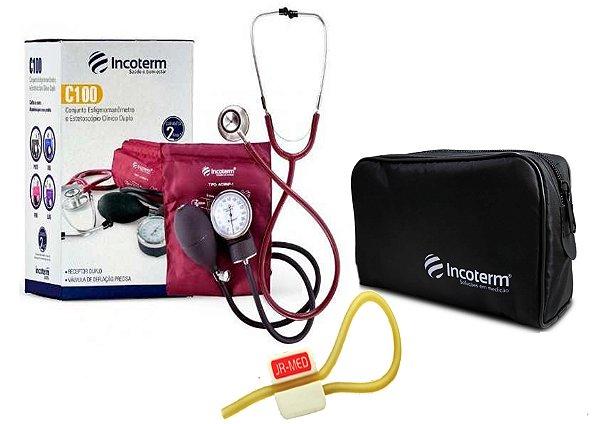 Kit Enfermagem: Aparelho de Pressão com Estetoscópio Clinico Duplo Incoterm Vinho + Garrote JRMED