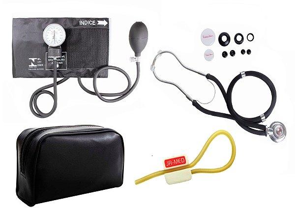 Kit Enfermagem: Aparelho de Pressão com Estetoscópio Rappaport Preto Premium + Garrote JRMED