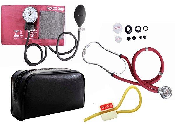 Kit Aparelho de Pressão com Estetoscópio Rappaport Premium - Vinho