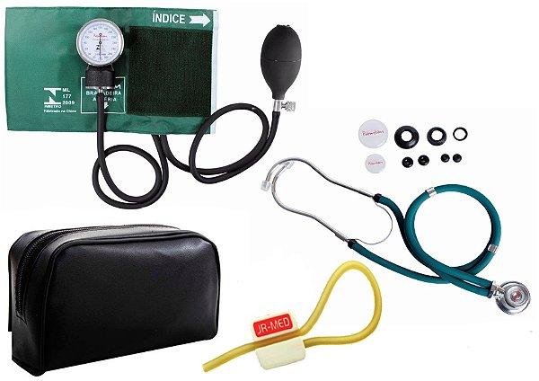 Kit Enfermagem: Aparelho de Pressão com Estetoscópio Rappaport Verde Premium + Garrote JRMED