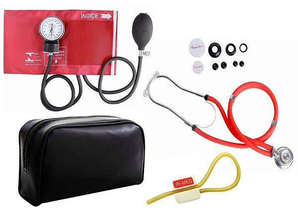 Kit Enfermagem: Aparelho de Pressão com Estetoscópio Rappaport Vermelho Premium + Garrote JRMED