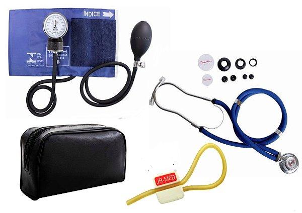 Kit Enfermagem: Aparelho de Pressão com Estetoscópio Rappaport Azul Premium + Garrote JRMED