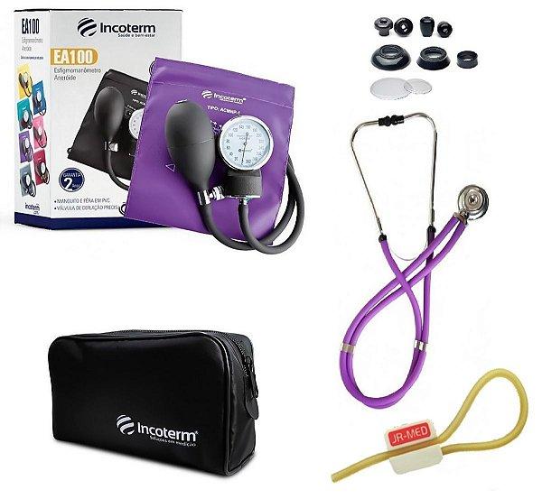 Kit Enfermagem: Aparelho De Pressão com Estetoscópio Rappaport Incoterm Lilás + Garrote JRMED