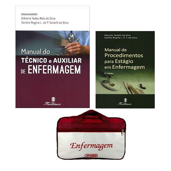 Kit Enfermagem: Manual Do Técnico E Auxiliar de Enfermagem 2ª Ed+ Manual de Procedimentos + Bolsa JRMED