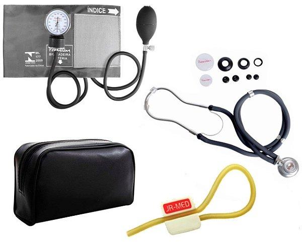 Kit Enfermagem: Aparelho de Pressão com Estetoscópio Rappaport Grafite Premium + Garrote JRMED