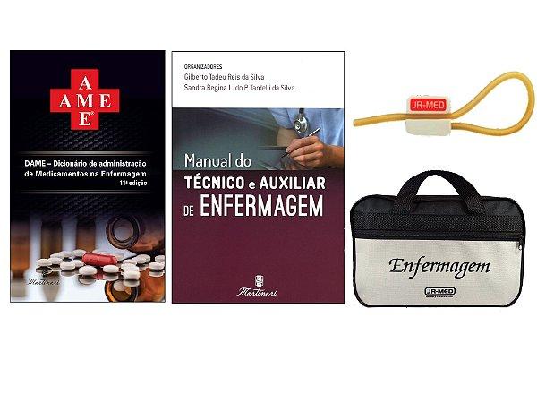 Kit Enfermagem: Ame Dicionário de Administração de Medicamentos 11ª Edição + Manual do Técnico E Auxiliar + Bolsa JRMED