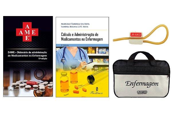 Kit Enfermagem: Ame Dicionário de Administração de Medicamentos  11ª Ed+ Cálculo e Administração de Medicamentos+ Bolsa