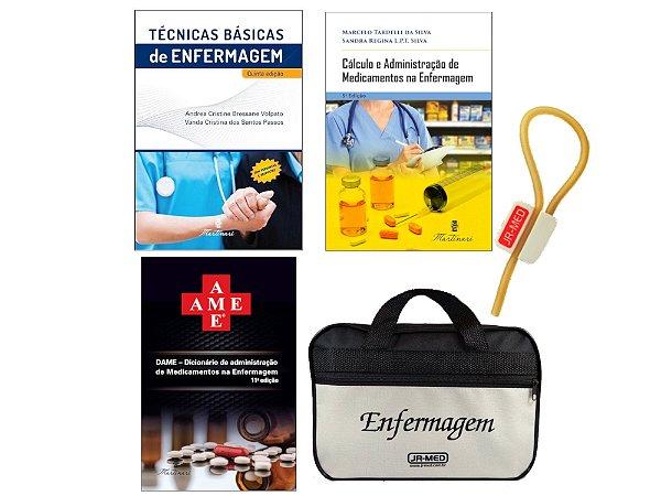 Kit Enfermagem: Ame  11ª Edição + Técnicas Básicas + Cálculo e Administração de Medicamento + Bolsa JRMED+ Garrote JRMED