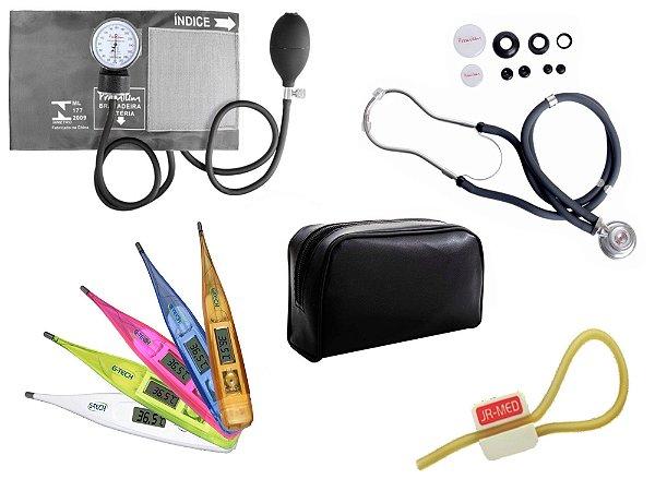 Kit Aparelho de Pressão com Estetoscópio Rappaport Premium Grafite + Termômetro Digital + Garrote Exclusivo JRMED