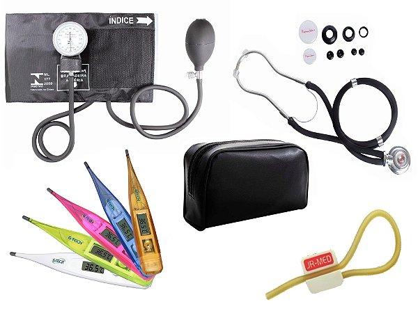 Kit Aparelho de Pressão com Estetoscópio Rappaport Premium Preto + Termômetro Digital + Garrote Exclusivo JRMED