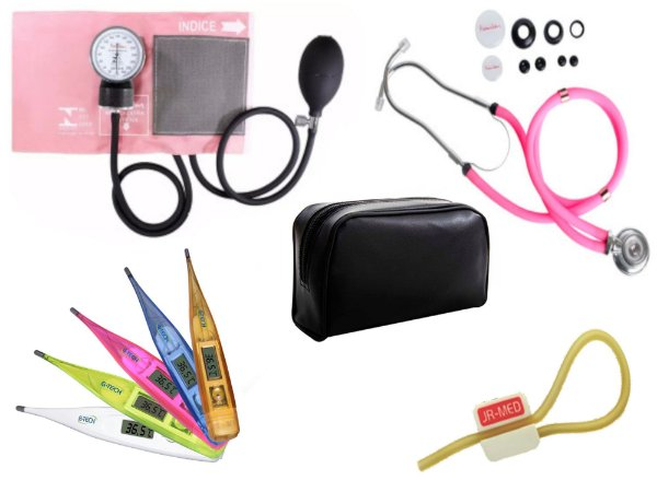 Kit Aparelho de Pressão com Estetoscópio Rappaport Premium Rosa + Termômetro Digital + Garrote Exclusivo JRMED