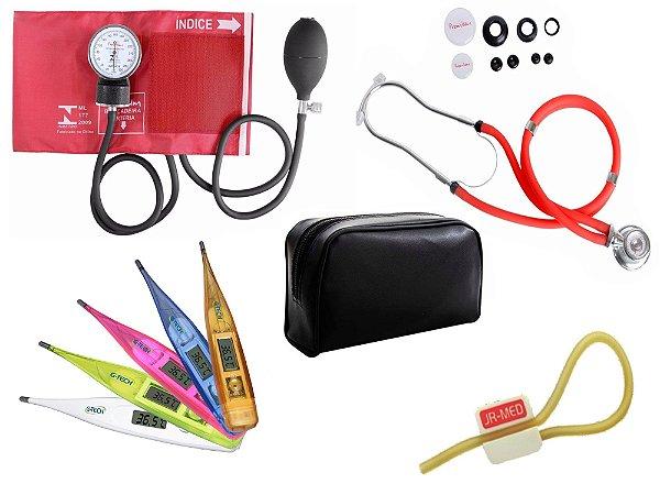 Kit Aparelho de Pressão com Estetoscópio Rappaport Premium Vermelho + Termômetro Digital + Garrote Exclusivo JRMED