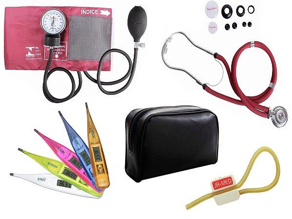 Kit Aparelho de Pressão com Estetoscópio Rappaport Premium Vinho + Termômetro Digital + Garrote Exclusivo JRMED