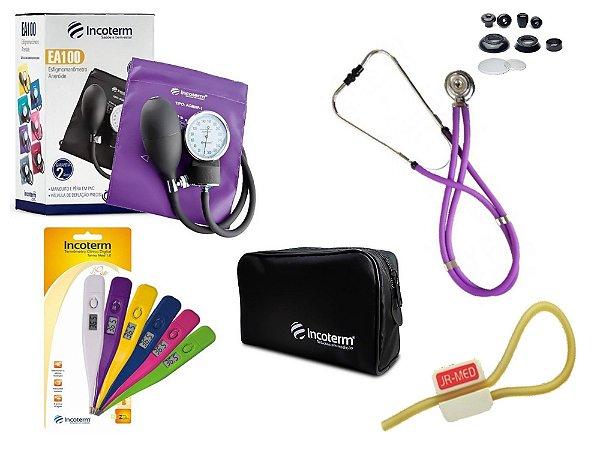 Kit Aparelho De Pressão com Estetoscópio Rappaport Lilás Incoterm + Termômetro Digital + Garrote Exclusivo JRMED