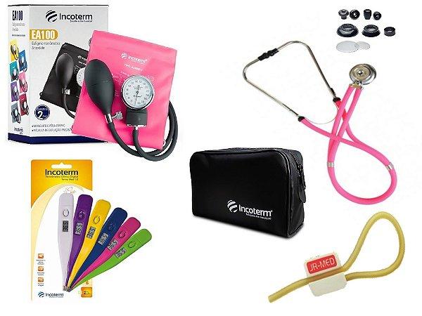 Kit Aparelho De Pressão com Estetoscópio Rappaport Pink Incoterm + Termômetro Digital + Garrote Exclusivo JRMED