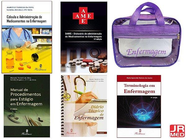 Kit Enfermagem: Cálculo+ Ame 11ª+ Manual De Procedimento+ Terminologia + Diário + Bolsa JRMED